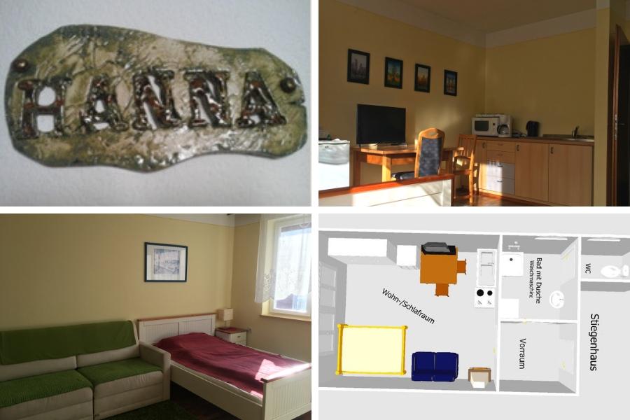 Ferienwohnung Hanna - rechts oben Blick von Bett in Richtung Esstisch und Küchenzeile - links unten Blick von Esstisch zu Sofa und Bett, rechts unten Skizze von Wohnung