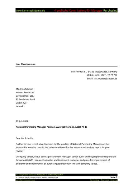 4 Cover Letter  Englische Anschreiben Fhrungskraft