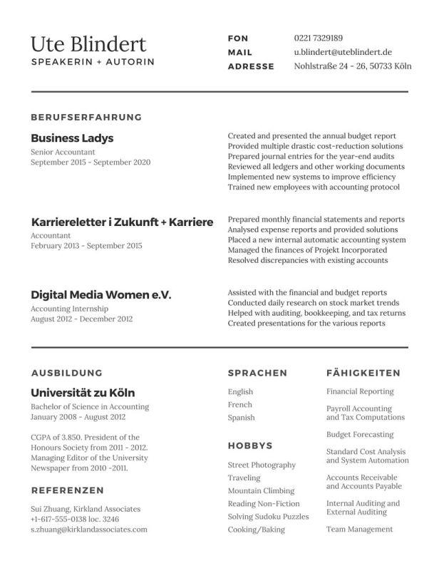 Luxury Accounting Absolventen Lebenslauf Pictures - FORTSETZUNG ...