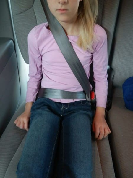 Seatbelt does not fit properly without a booster (photo credit:https://www.facebook.com/SuperCarSeatGeek)