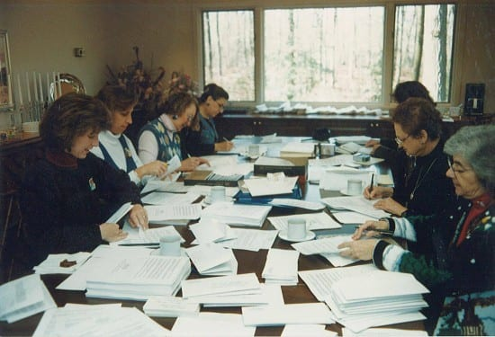 TRC's early days. Volunteers processing order forms in the 1990's.