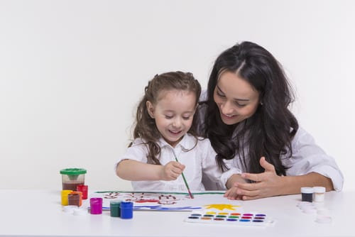 mother daughter art lesson