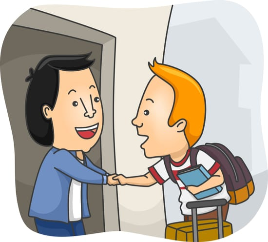 animation of welcoming exchange student