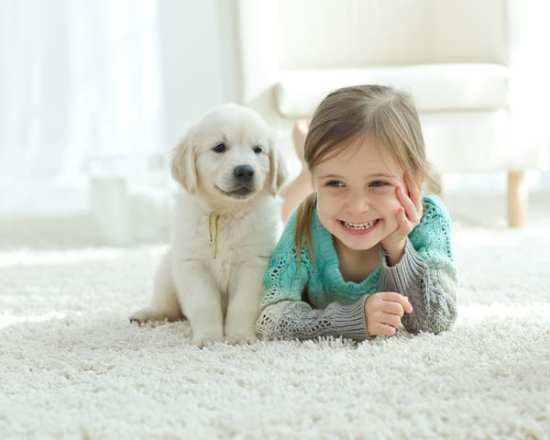 little girl huddles with dog on white rug