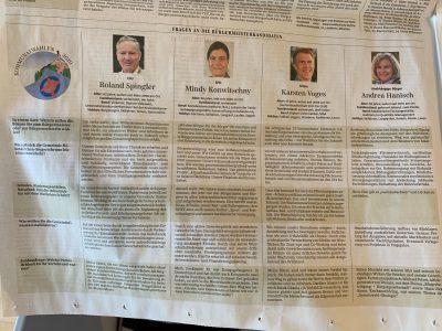 Zeitungsartikel - Fragen an die Bürgermeisterkandidaten