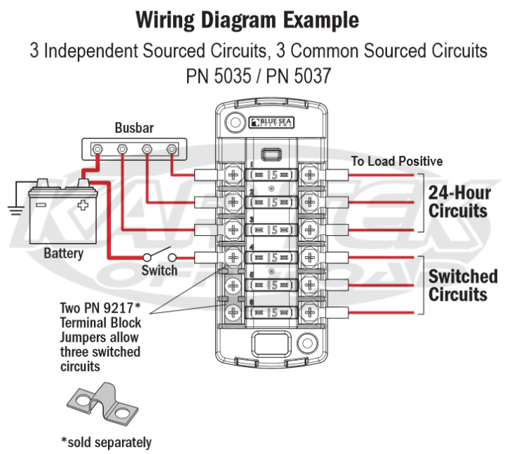 Blue Sea System 6 Separate Circuit ATO Blade Fuse Block 30A Max