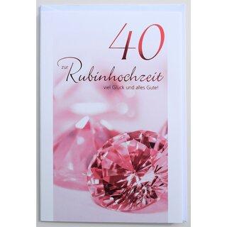 Glckwunschkarte Rubinhochzeit 40 Jahre Hochzeitstag