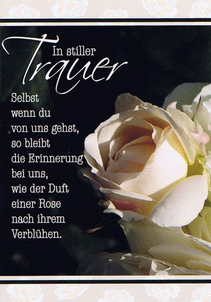 Trauerkarte In stiller Trauer mit weier Rose