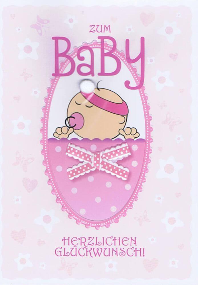 Glckwunschkarte zum Baby rosa fr Mdchen  Kartenwichtelde