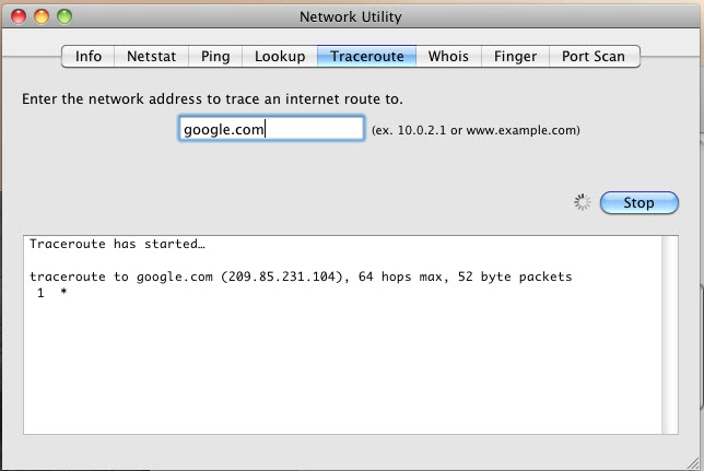 Network Utility Traceroute