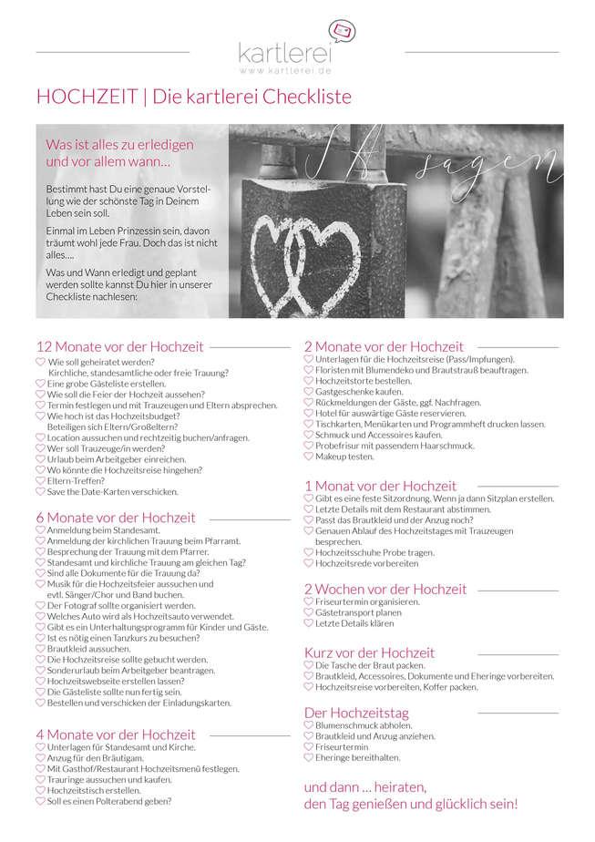 Hochzeits Checkliste die Hochzeitsfeier  wwwkartlereide