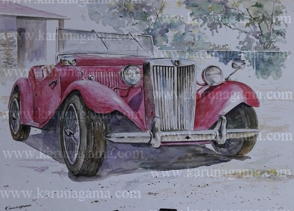 Online, Art, Art Gallery, Online Art Galley, Sri Lanka, Karunagama, Watercolor, Water Colour, Vehicles, MG classic cars, MG car Paintings, Sports Car Paintings, MG Convertible, Sri lanka paintings,