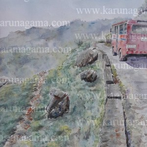 Online, Art, Art Gallery, Online Art Galley, Sri Lanka, Karunagama, Watercolor, Water Colour, Haputale, Busses, Sri lanka Busses paintigns, Sri lanka Hills, Tea plantation in Sri lanka, Sri lanka paintings,