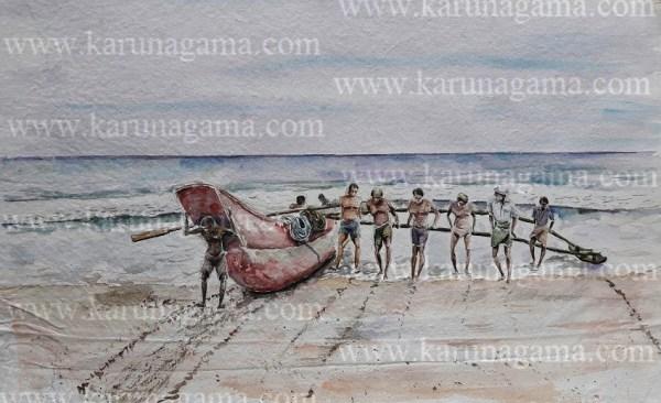 Online, Art, Art Gallery, Online Art Galley, Sri Lanka, Karunagama, Watercolor, Water Colour, Fishing boat paintings, Fishing boats in Sri lanka, Seascape paintings, Srilanka Seascape, Sri lanka paintings,