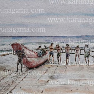 Online, Art, Art Gallery, Online Art Galley, Sri Lanka, Karunagama, Watercolor, Water Colour, Fishing boat paintings, Fishing boats in Sri lanka, Seascape paintings, Srilanka Seascape, Sri lanka paintings,
