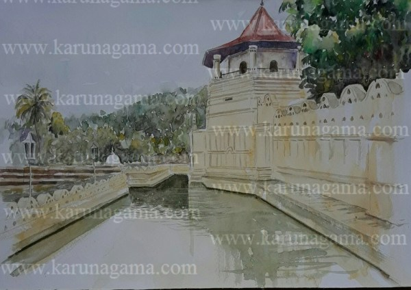Online, Art, Art Gallery, Online Art Galley, Sri Lanka, Karunagama, Watercolor, Water Colour, Kandy Place, Dalada Maligawa, Sri lanka paintings,