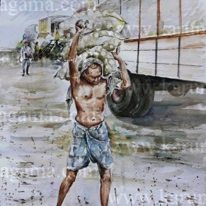 Online, Art, Art Gallery, Online Art Galley, Sri Lanka, Karunagama, Watercolor, Water Colour, Pettah, Nattami, Paintings of laborer, Water Colors, Paintings, Sri Lanka, Online Arts, Art Gallery, Sarath Karunagama, Online Art Gallery, Portrait, Landscape, Laborer, Transport, City, People, Sri lanka paintings,