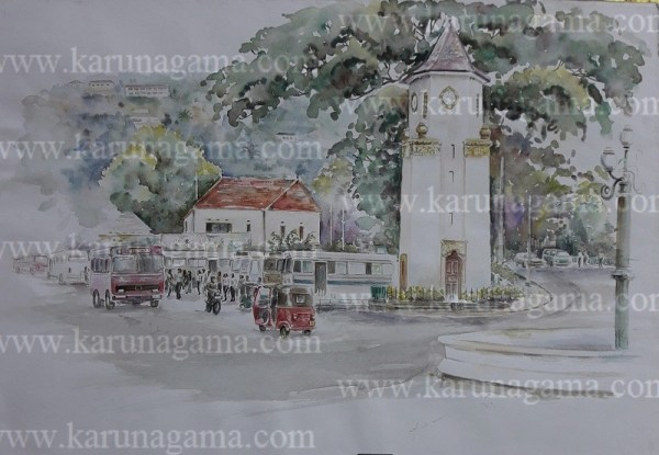 Online, Art, Art Gallery, Online Art Galley, Sri Lanka, Karunagama, Watercolor, Water Colour, Kandy Clock Tower, Ismail Clock Tower, Architecture, Buildings, Sri lanka paintings,