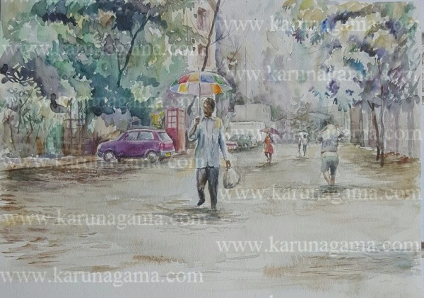 Online, Art, Art Gallery, Online Art Galley, Sri Lanka, Karunagama, Watercolor, Water Colour, Floods, Sri lanka Floods, Floods Paintings, Landscapes, Rain in Sri lanka, Water Colors, Paintings, Sri Lanka, Online Arts, Art Gallery, Sarath Karunagama, Online Art Gallery, Portrait, Landscape, Flood, Monsoon, Road, Water, Sri lanka paintings,