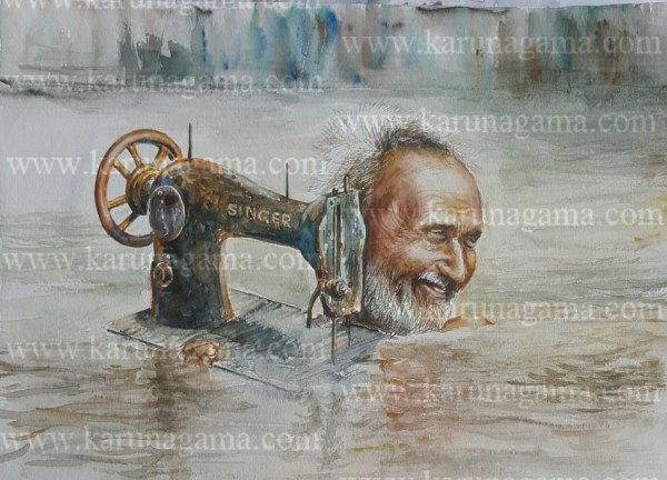 Online, Art, Art Gallery, Online Art Galley, Sri Lanka, Karunagama, Watercolor, Water Colour, Old People, Paintings of Floods, Paintings of old People, Sri lanka paintings,
