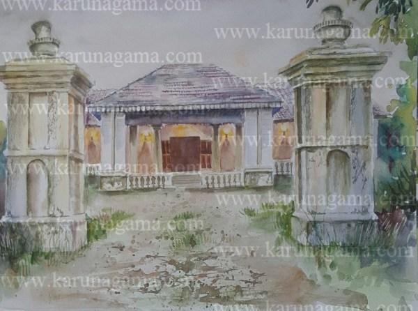 Online, Art, Art Gallery, Online Art Galley, Sri Lanka, Karunagama, Watercolor, Water Colour, Mansion, Architecture, Buildings, Homes, Sri lankan Homes, Sri lanka paintings,