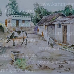 Online, Art, Art Gallery, Online Art Galley, Sri Lanka, Karunagama, Watercolor, Water Colour, Bulls in Sri lanka, Bulls, Bulls paintings, Water Colors, Paintings, Sri Lanka, Online Arts, Art Gallery, Sarath Karunagama, Online Art Gallery, Portrait, Landscape, Bull, Clay Huts,, Sri lanka paintings,