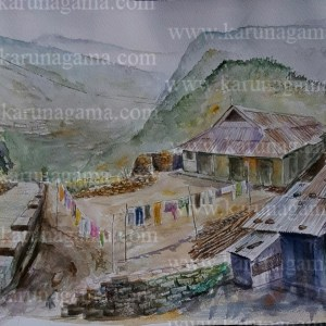 Online, Art, Art Gallery, Online Art Galley, Sri Lanka, Karunagama, Watercolor, Water Colour, Hilltop Paintings, Sri Lanka Hills, Hills Paintings, Laborer lines, Laborer quarters paintings, laborer quarters, Water Colors, Paintings, Sri Lanka, Online Arts, Art Gallery, Sarath Karunagama, Online Art Gallery, Portrait, Labor,, Sri lanka paintings,