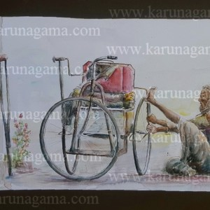 Online, Art, Art Gallery, Online Art Galley, Sri Lanka, Karunagama, Watercolor, Water Colour, Beggars, Sri lankan Beggars, Wheel Chair, Wheel Chair Paintings, Sri lanka People, Sri lanka paintings,