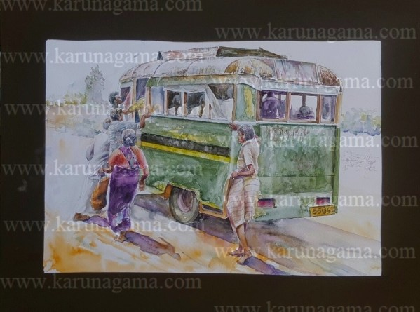 Water Colors, Paintings, Sri Lanka, Online Arts, Art Gallery, Sarath Karunagama, Online Art Gallery, Water Colors, Paintings, Sri Lanka, Online Arts, Art Gallery, Sarath Karunagama, Online Online, Art, Art Gallery, Online Art Galley, Sri Lanka, Karunagama, Watercolor, Water Colour,Overloaded busses, Busses in Sri Lanka, Paintings of Busses, Old busses, Classic busses, , Sri lanka paintings,
