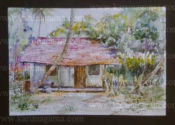 Online, Art, Art Gallery, Online Art Galley, Sri Lanka, Karunagama, Watercolor, Water Colour, Old huts, Hut paintings, Paintings, Sri Lanka, Online Arts, Art Gallery, Sarath Karunagama, , Landscape,, Sri lanka paintings,