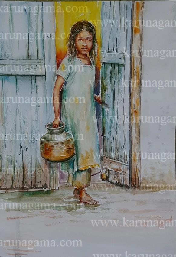 Art, Art Gallery, Online Art Gallery, Sri Lanka, Karunagama,Watercolor,Watercolor,Water Colour, Online, Art, Art Gallery, Online Art Galley, Sri Lanka, Karunagama, Watercolor, Water Colour, Sarath Karunagama, Water scarecity, Indian Girl Paintings, Sri lanka paintings,