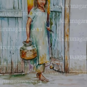 Art, Art Gallery, Online Art Gallery, Sri Lanka, Karunagama,Watercolor,Watercolor,Water Colour, Online, Art, Art Gallery, Online Art Galley, Sri Lanka, Karunagama, Watercolor, Water Colour, Sarath Karunagama, Water scarecity, Indian Girl Paintings, Sri lanka paintings,