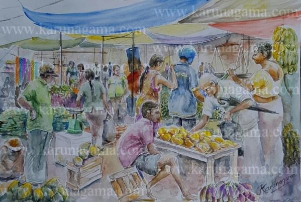 Art Gallery, Online Art Galley, Sri Lanka, Karunagama, Watercolor, Water Colour, Sunday fair, Sri lanka paintings,