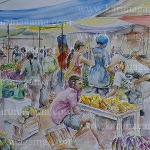 Art Gallery, Online Art Galley, Sri Lanka, Karunagama, Watercolor, Water Colour, Sunday fair, Sri lanka paintings,