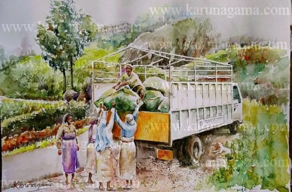 Online, Art, Art Gallery, Online Art Galley, Sri Lanka, Karunagama, Watercolor, ater Colour, Sri lanka tea industry, Sri lanka tea, Tea factories, Sri lanka tea factories, Tea transprotation, Vehicles, Vehicle paintigns, Sri lanka paintings,