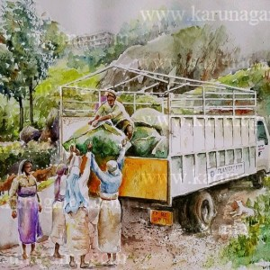 Online, Art, Art Gallery, Online Art Galley, Sri Lanka, Karunagama, Watercolor, ater Colour, Sri lanka tea industry, Sri lanka tea, Tea factories, Sri lanka tea factories, Tea transprotation, Vehicles, Vehicle paintigns, Sri lanka paintings,