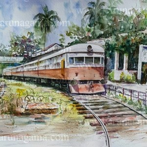 Online, Art, Art Gallery, Online Art Galley, Sri Lanka, Karunagama, Watercolor, Water Colour, Class M1, Sri lanka trains, Locomotives, Locomotive paintings, Diesel locomotives, Diesel locomoitve paintins, Power sets, Power sets paintigns, Trains paintins, Sri lanka paintings,