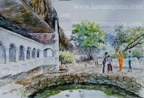 Online, Art, Art Gallery, Online Art Galley, Sri Lanka, Karunagama, Watercolor, Water Colour, Buddha Statue, Temples in Sri lanka, Temples, Cave temples, Cave temples in Sri lanka, Dambulla cave temple, Dambulla, Temples in Sri lanka, Buddha, Sri lanka paintings,