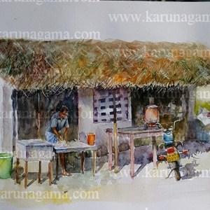 Online, Art, Art Gallery, Online Art Galley, Sri Lanka, Karunagama, Watercolor, Water Colour, Tea stalls, Sri lanka roads, Sri lanka tea stalls, Sri lanka landscapes, landscape paintings, Sri lanka Villages, Sri lanka paintings,