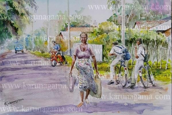 Online, Art, Art Gallery, Online Art Galley, Sri Lanka, Karunagama, Watercolor, Water Colour, Students paintings, Villages, Sri lankan Villages, Sri lanka paintings,