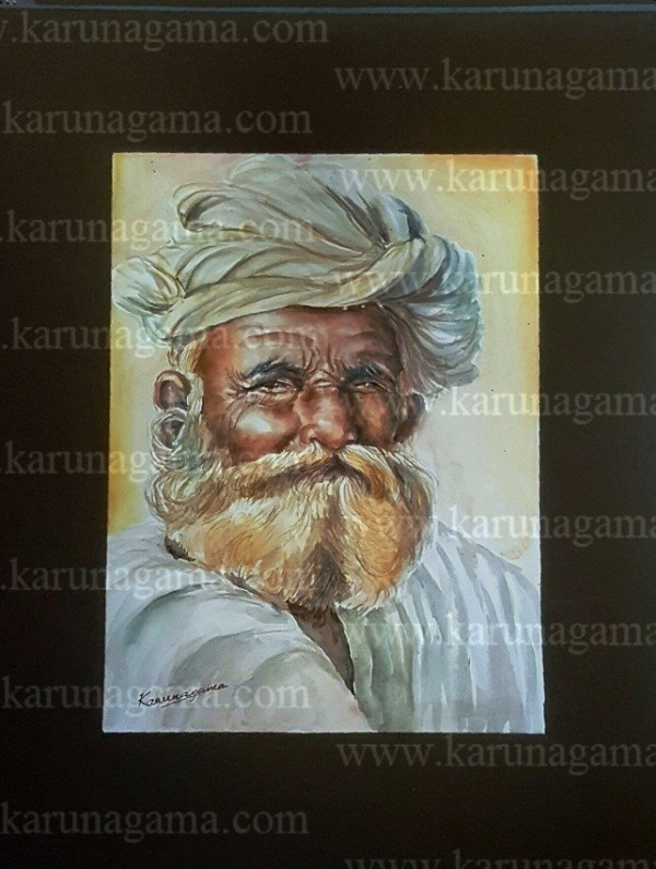 Online, Art, Art Gallery, Online Art Galley, Sri Lanka, Karunagama, Watercolor, Water Colour, People, Sri lanka Old People, Sri lankan Portraits. Sri lanka watercolor paintings, Indian old man paintings, Old man paintings, Sri lanka paintings,