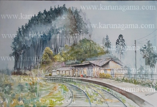 Online, Art, Art Gallery, Online Art Galley, Sri Lanka, Karunagama, Watercolor, Water Colour, Railways, Sri Lanka Railways, Sri lanka railway paintings, Mist in Sri lanka, Mist in Idalgashinna, Idalgashinna Paintings, Sri lanka paintings,