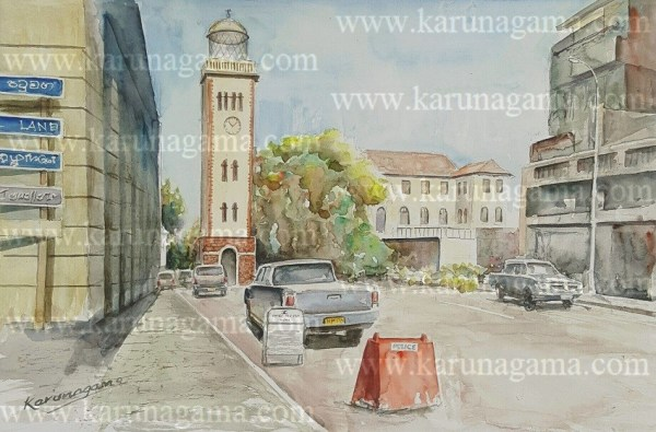 Online, Art, Art Gallery, Online Art Galley, Sri Lanka, Karunagama, Watercolor, Water Colour, Khan clock tower, Clock tower, Clock tower paintings, Lihgt house paintings, Colombo paintings, Street paintings, Sri lanka paintings,