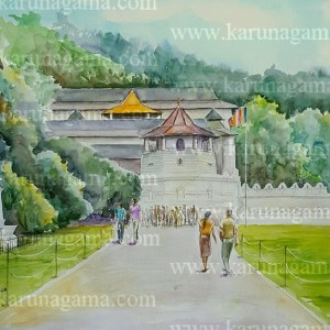 Art, Art Gallery, Clock tower, Dalada maligawa paintings, Kandy Paintings, Kandy watercolor paintings, Karunagama, Online, Online Art Galley, Udawatte kele paintings, Sri Dalada Maligawa paintings, Dalada maligawa, Tooth relic of Buddha, Udawatte forest, Sri Lanka, Sri lanka Paintings, Water Colour, Watercolor