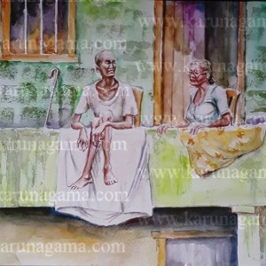 Online, Art, Art Gallery, Online Art Galley, Sri Lanka, Karunagama, Watercolor, Water Colour, Old people, Kandy paintings,