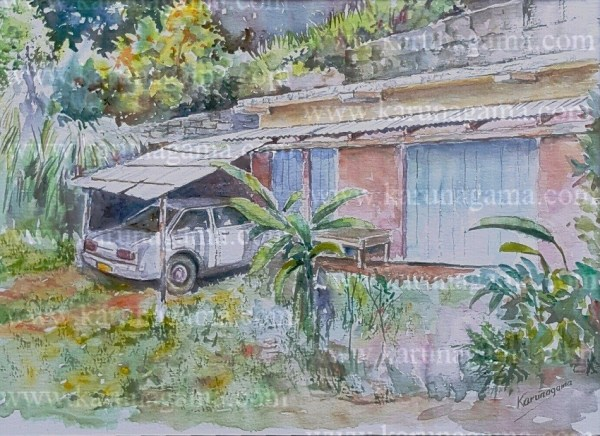 Online, Art, Art Gallery, Online Art Galley, Sri Lanka, Karunagama, Watercolor, Water Colour, cars, Car paintings, Classic car paintings, Sri lankan old cars, Abandoned cars,