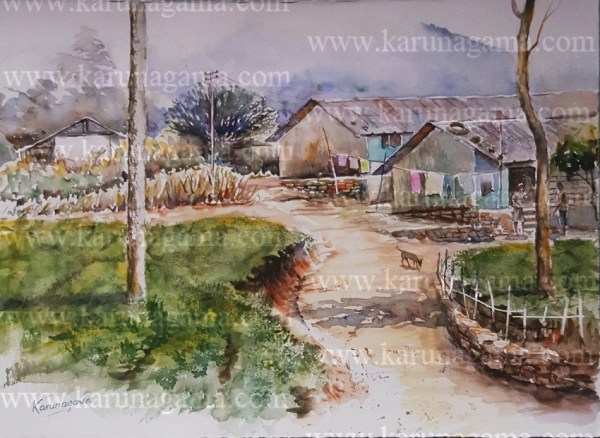 Online, Art, Art Gallery, Online Art Galley, Sri Lanka, Karunagama, Watercolor, Water Colour, Sri lanka tea industry, Tea estates, Labor lines,