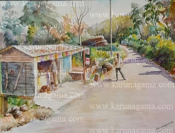 Art, Art Gallery, Paintings, Karunagama, Landscapes, Houses paintings, Sri lanka villages, People in Sri lanka,