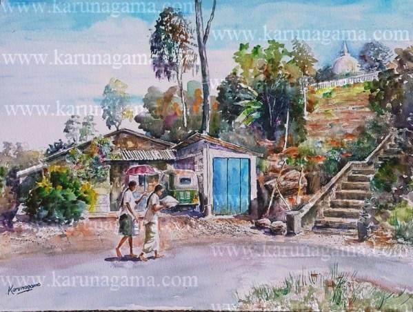 Online, Art, Art Gallery, Online Art Galley, Sri Lanka, Karunagama, Watercolor, Water Colour, Kadiyanlena, Kothmale, Landscape, Landscape paintings, Devotees, Temple,