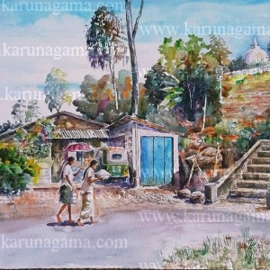 Online, Art, Art Gallery, Online Art Galley, Sri Lanka, Karunagama, Watercolor, Water Colour, Kadiyanlena, Kothmale, Landscape, Landscape paintings, Devotees, Temple,